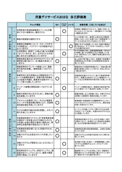 202103児童発達支援事業所評価表(児童デイサービスおはな)